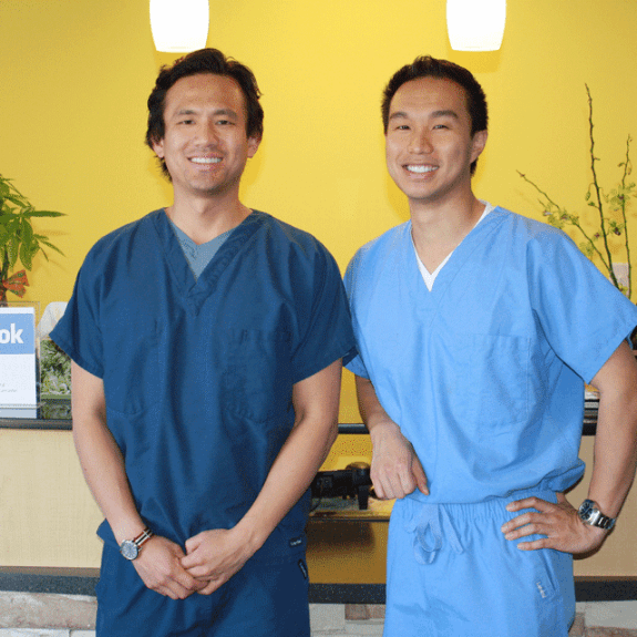 Dr. Kuan and Dr. Duong at the dental office