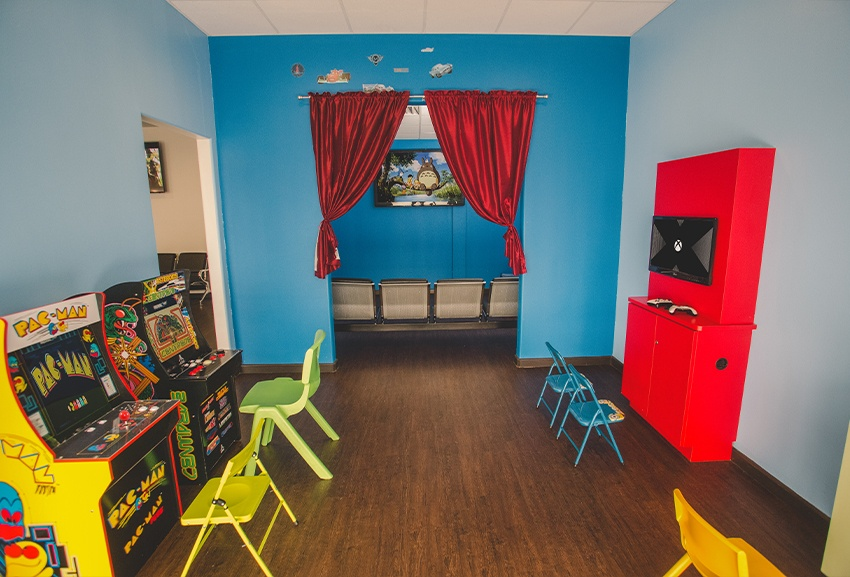 Kid-friendly dental office waiting area